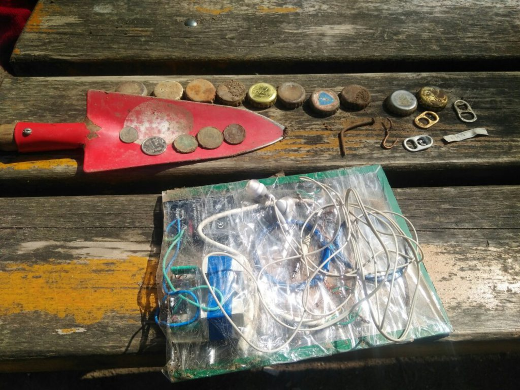 finds with DIY metal detector for kids