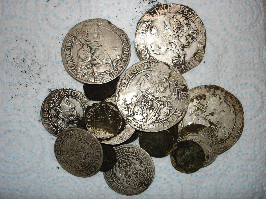pouch of antique silver coins