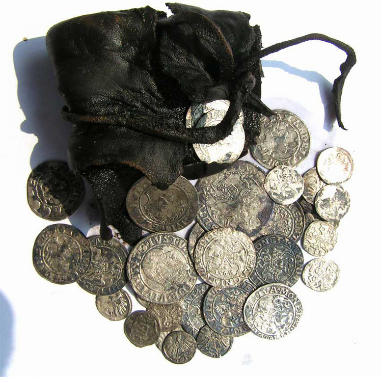 antique pouch with coins